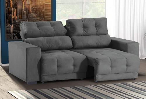 Cool Sofa Retratil E Reclinavel 3 Lugares Prius New Suede Cinza Machost Co Dining Chair Design Ideas Machostcouk