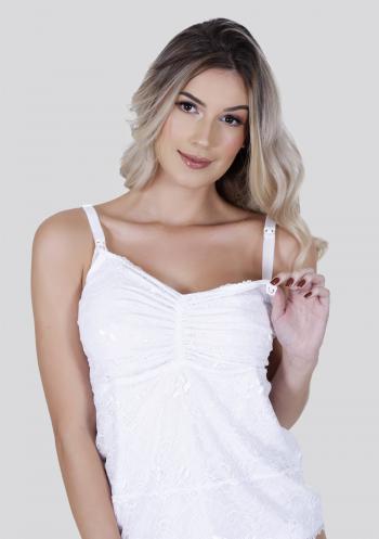 Blusa Amamentação com Click Renda Branca