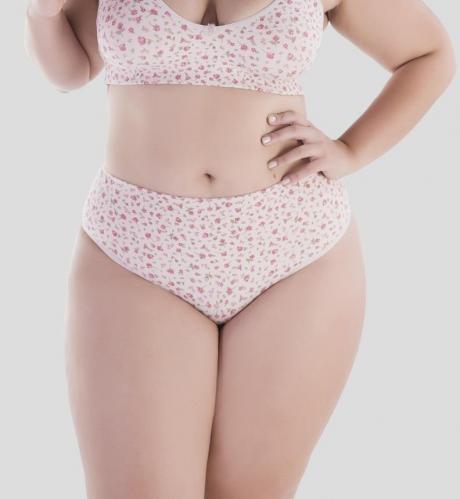 Calcinha plus size cotton estampada rosa