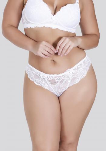 Calcinha Plus Size em Renda Branca