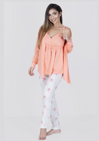 Pijama Amamentação Longo Algodão 3 Peças Estrela do Mar