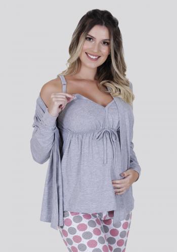 Pijama Amamentação Longo Algodão 3 Peças Mescla