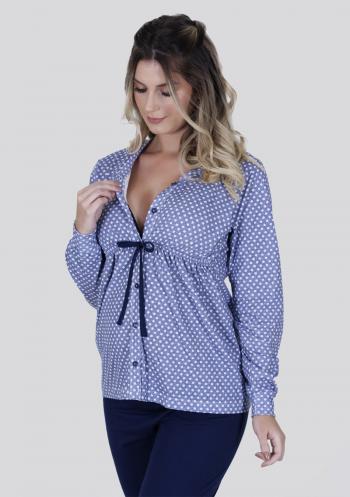 Pijama amamentação longo de botão algodão azul com poá