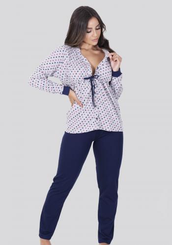 Pijama amamentação longo de botão algodão blusa cinza com poá e calça azul marinho