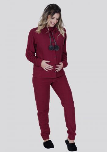 Pijama amamentação longo de plush vinho com botão