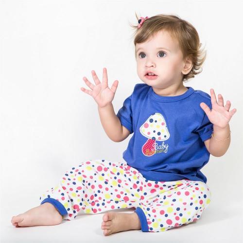 Pijama Infantil 100% Algodão Feminino calça com blusa manga curta