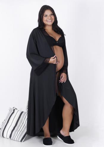 Robe Longo Preto com Renda
