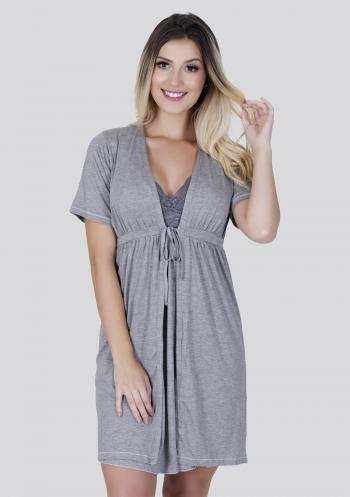 Robe Manga Curta Sabrina Cinza
