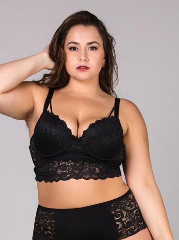 Sutiã Cropped Rendado Plus Size Preto