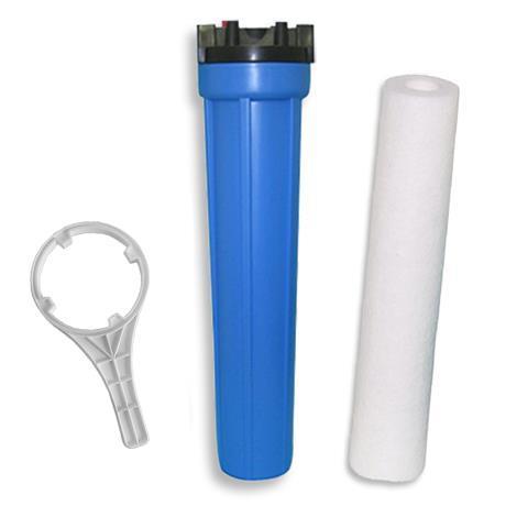 """Kit Filtração Carcaça Azul de 20"""" x 2.1/2"""" conexão de 3/4"""" Refil Polipropileno 5 Micras e Chave"""