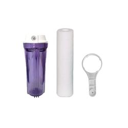 """Kit Filtração de Carcaça Transparente de 10"""" conexão de 1/2"""" com refil 5 micras e chave manutenção"""