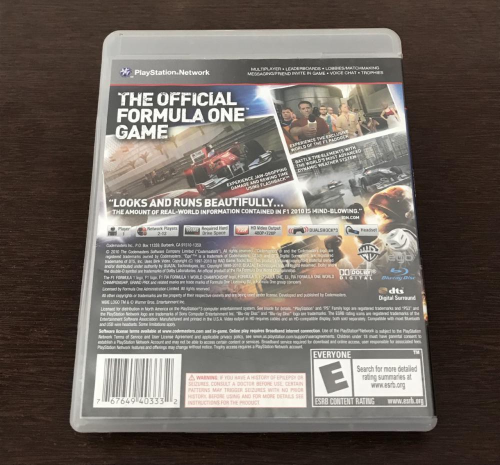 F1 2010 PS3 - Usado : PS3 - Jogos : R A Games