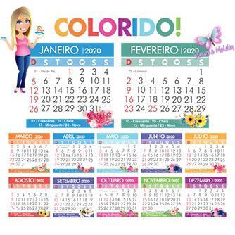 Mini Calendario.Mini Calendario Colorido 2020