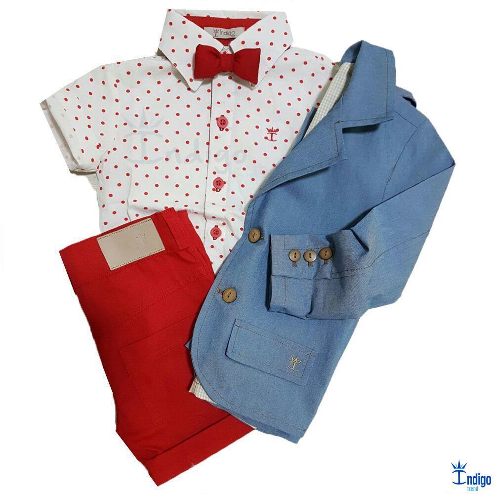 Conjunto Infantil Casual Blazer Azul Jeans Camisa Barcelona Vermelho Vermelha Menino Indigo Trend Conjunto Infantil Circo Menino